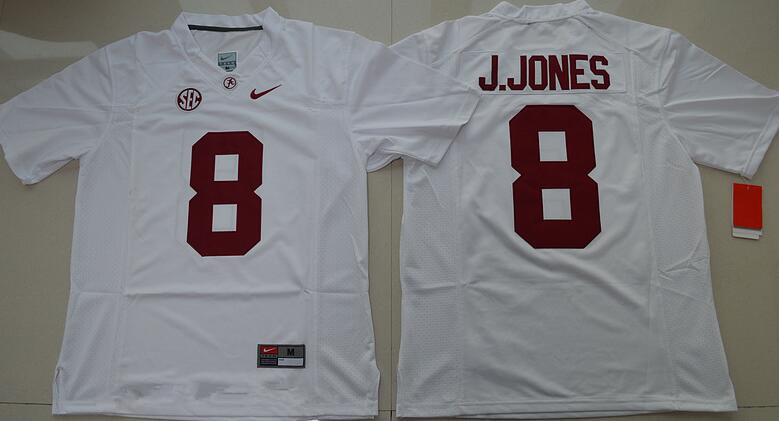 Men's Alabama Crimson Tide #8 Julio Jones White Limited Stitched College Football Nike NCAA Jersey