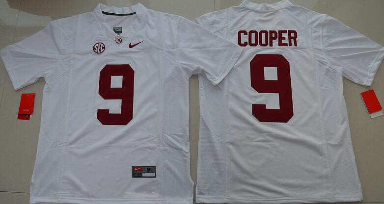 Men's Alabama Crimson Tide #9 Amari Cooper White Limited Stitched College Football Nike NCAA Jersey