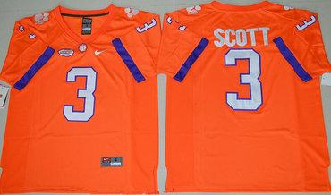 Men's Clemson Tigers #3 Artavis Scott Orange Stitched NCAA Nike 2016 College Football Jersey