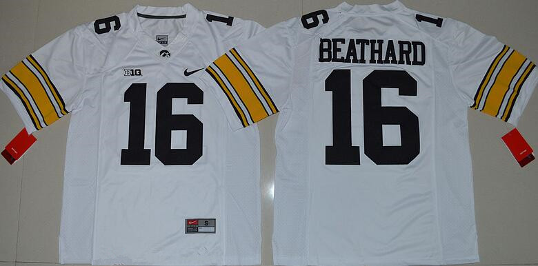 Men's Iowa Hawkeyes #16 C. J. Beathard White Limited Stitched College Football Nike NCAA Jersey