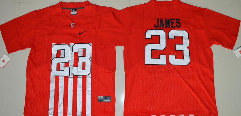 Men's Ohio State Buckeyes #23 Lebron James Red Elite Stitched College Football 2016 Nike NCAA Jersey
