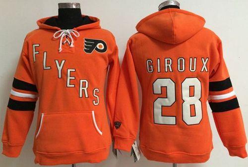 Philadelphia Flyers #28 Claude Giroux Orange Women's Old Time Heidi NHL Hoodie