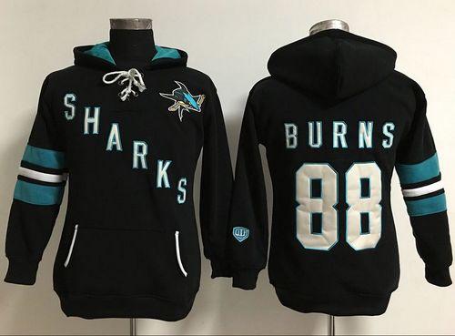 San Jose Sharks #88 Brent Burns Black Women's Old Time Heidi Hoodie NHL Hoodie