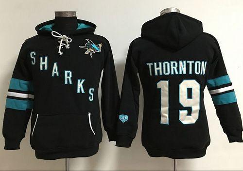 San Jose Sharks #19 Joe Thornton Black Women's Old Time Heidi Hoodie NHL Hoodie
