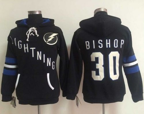 Tampa Bay Lightning #30 Ben Bishop Black Women's Old Time Heidi NHL Hoodie