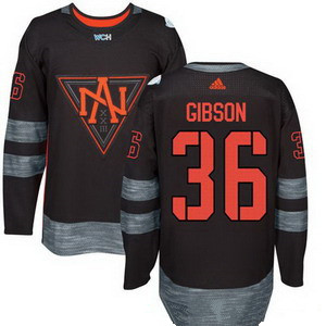 Men's North America Hockey #36 John Gibson Black 2016 World Cup of Hockey Stitched adidas WCH Game Jersey