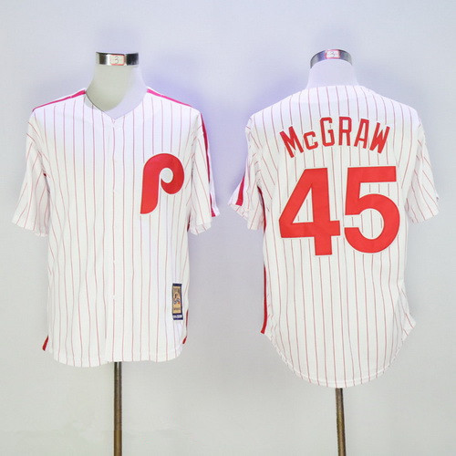 0a424ada8c7 Men s Philadelphia Phillies  45 Tug McGraw White Pinstripe Majestic Cool  Base Cooperstown Collection Jersey