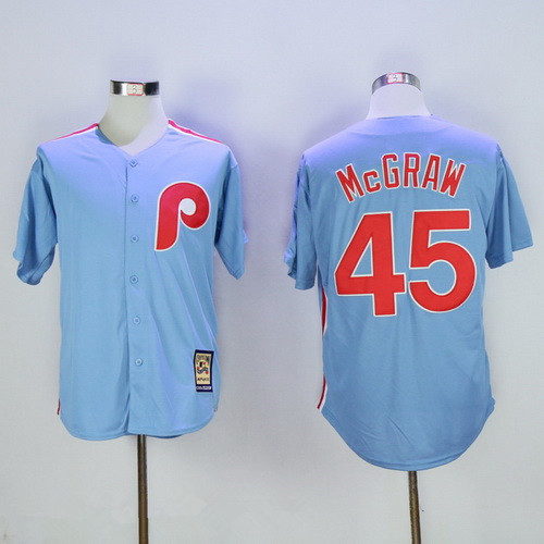 a1a3afc4fe0 Men s Philadelphia Phillies  45 Tug McGraw Light Blue Majestic Cool Base  Cooperstown Collection Jersey