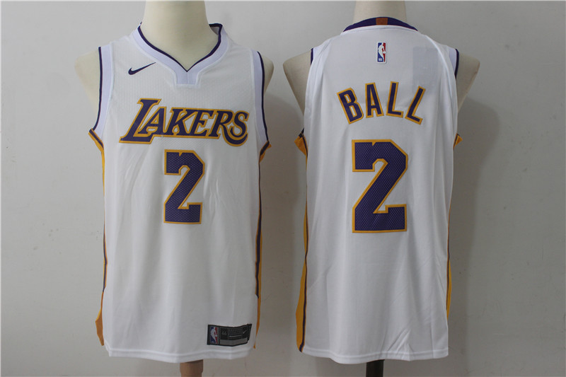 Men s Los Angeles Lakers  2 Lonzo Ball New White 2017-2018 Nike Swingman  Stitched 8a7023db4
