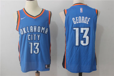 Men's Oklahoma City Thunder #13 Paul George New Royal Blue 2017-2018 Nike Swingman Stitched NBA Jersey