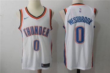 Men's Oklahoma City Thunder #0 Russell Westbrook New White 2017-2018 Nike Swingman Stitched NBA Jersey