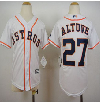 Youth Houston Astros #27 Jose Altuve White Cool Base Stitched Baseball Jersey