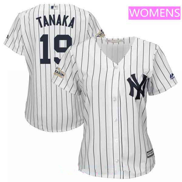 Women's New York Yankees #19 Masahiro Tanaka Majestic White 2017 Postseason Cool Base Player Jersey