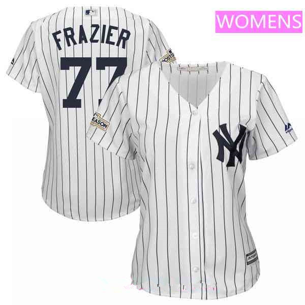 Women's New York Yankees #77 Clint Frazier Majestic White 2017 Postseason Cool Base Player Jersey