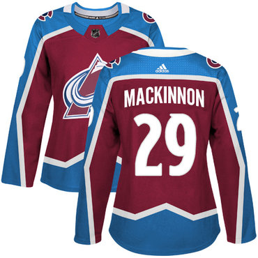 Adidas Colorado Avalanche #29 Nathan MacKinnon Burgundy Home Authentic Women's Stitched NHL Jersey