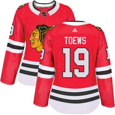 Adidas Chicago Blackhawks #19 Jonathan Toews Red Home Authentic Women's Stitched NHL Jersey
