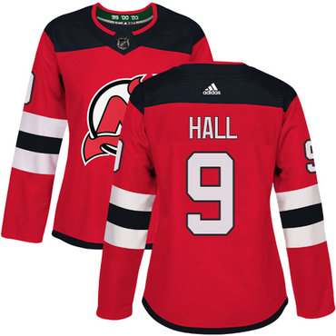 Adidas New Jersey Devils #9 Taylor Hall Red Home Authentic Women's Stitched NHL Jersey