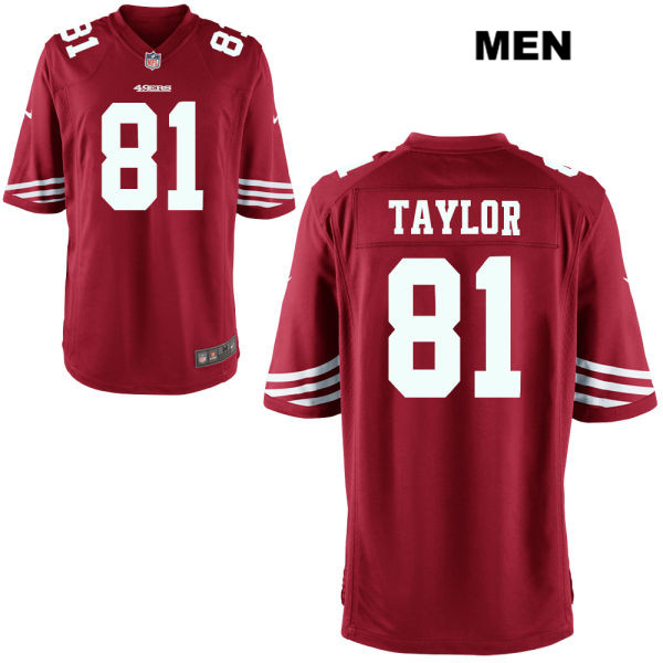 Mens Nike San Francisco 49ers #81 Trent Taylor Stitched  Home Red Game Football Jersey
