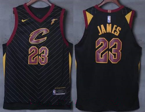 Men's Cleveland Cavaliers #23 LeBron James Black 2017-2018 Nike Swingman Goodyear Stitched NBA Jersey