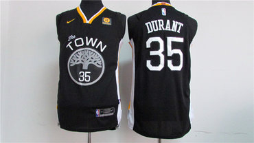 Men's Golden State Warriors #35 Kevin Durant Black 2017-2018 Nike Swingman Rakuten Stitched NBA Jersey