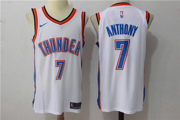 Men's Oklahoma City Thunder #7 Carmelo Anthony New White 2017-2018 Nike Swingman Stitched NBA Jersey