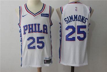 Men's Philadelphia 76ers #25 Ben Simmons White 2017-2018 Nike Swingman Stubhub Stitched NBA Jersey