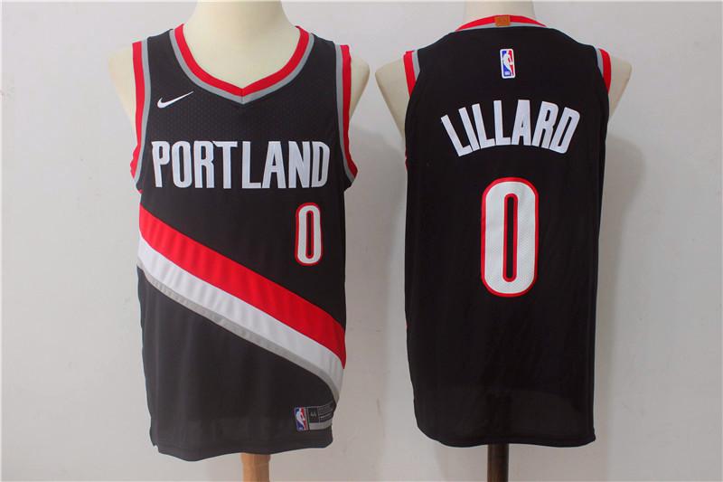 Men's Portland Trail Blazers #0 Damian Lillard Black 2017-2018 Nike Swingman Stitched NBA Jersey
