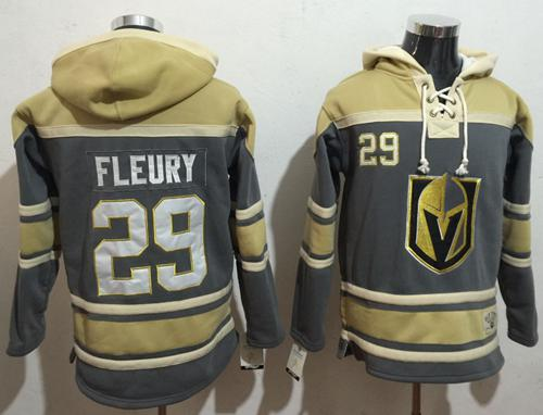 Men's Vegas Golden Knights #29 Marc-Andre Fleury Grey Gold Name & Number Pullover NHL Hoodie