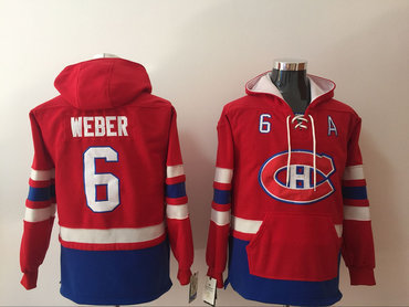 Men's Montreal Canadiens #6 Shea Weber NEW Red Pocket Stitched NHL Old Time Hockey Hoodie