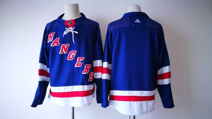 Men's New York Rangers Blank Royal Blue Home 2017-2018 Hockey Stitched NHL Jersey