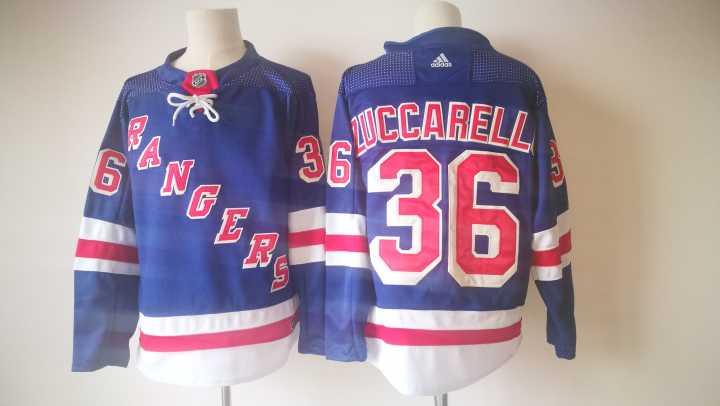 Men's New York Rangers #36 Mats Zuccarello Light Blue Home 2017-2018 Hockey Stitched NHL Jersey
