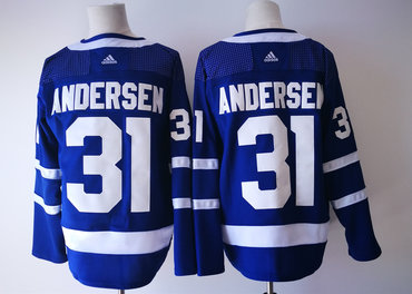 Men's Toronto Maple Leafs #31 Frederik Andersen Royal Blue Home 2017-2018 Hockey Stitched NHL Jersey