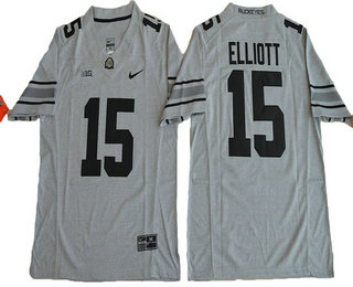Men's Ohio State Buckeyes #15 Ezekiel Elliott Gridiron Gray II Limited Stitched College Football Nike NCAA Jersey