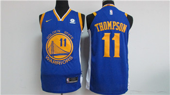 Nike Golden State Warriors #11 Klay Thompson Blue 2017-18 Stitched NBA Jersey