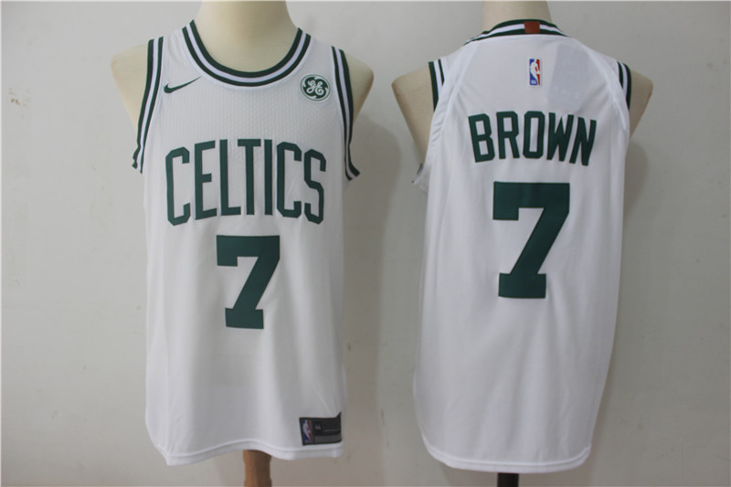 Men's Boston Celtics #7 Jaylen Brown White 2017-2018 Nike Swingman General Electric Stitched NBA Jersey