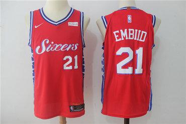 Men's Philadelphia 76ers #21 Joel Embiid Red 2017-2018 Nike Swingman Stubhub Stitched NBA Jersey