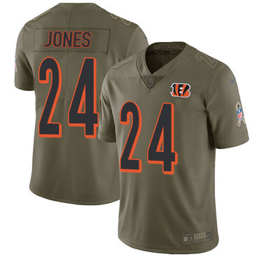 ID89837 Nike Cincinnati Bengals #24 Adam Jones Olive Men\'s Stitched NFL Limited 2017 Salute To Service Jersey