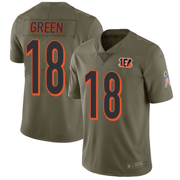 ID89838 Nike Cincinnati Bengals #18 A.J. Green Olive Men\'s Stitched NFL Limited 2017 Salute To Service Jersey