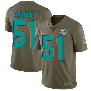 Nike Miami Dolphins  51 Mike Pouncey Olive Men s Stitched NFL Limited 2017  Salute to Service 70c530179