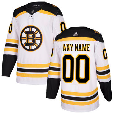 Custom Men's Boston Bruins White 2017-2018 adidas Hockey Stitched NHL Jersey
