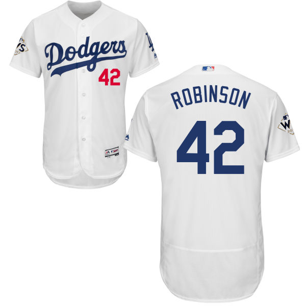 5672cc5f54e Men s Los Angeles Dodgers  42 Jackie Robinson White Flexbase Authentic  Collection 2017 World Series Bound