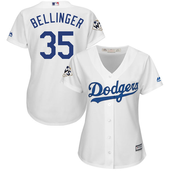 Women's Los Angeles Dodgers #35 Cody Bellinger White 2017 World Series Bound Cool Base Player Jersey