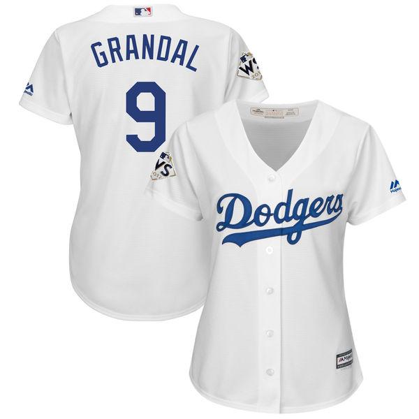 Women's Los Angeles Dodgers #9 Yasmani Grandal White 2017 World Series Bound Cool Base Player Jersey
