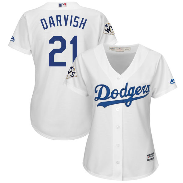 Women's Los Angeles Dodgers #21 Yu Darvish White 2017 World Series Bound Cool Base Player Jersey