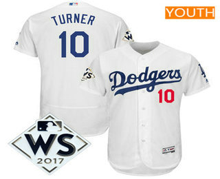 Youth Los Angeles Dodgers Justin Turner Majestic White 2017 World Series Patch Flex Base Player Jersey