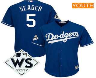 Youth Los Angeles Dodgers Corey Seager Majestic Royal 2017 World Series Patch Cool Base Player Jersey