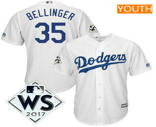 Youth Los Angeles Dodgers Cody Bellinger Majestic White 2017 World Series Patch Cool Base Player Jersey
