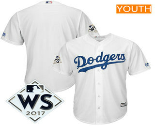Youth Los Angeles Dodgers Majestic White 2017 World Series Patch Cool Base Team Jersey