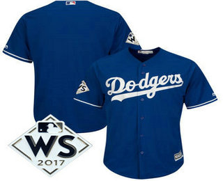 Men's Los Angeles Dodgers Majestic Royal 2017 World Series Patch Cool Base Team Jersey