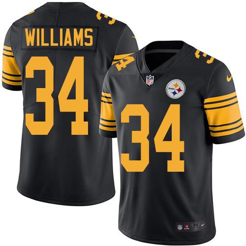 ID90289 Youth Nike Steelers #34 DeAngelo Williams Black Stitched NFL Limited Rush Jersey